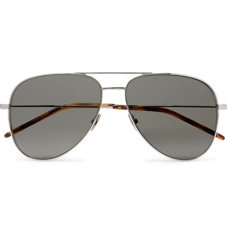 Classic 11 Aviator Style Silver Tone Metal Sunglasses by Saint Laurent