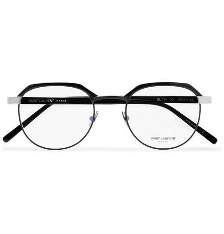 8e30642c414 Saint Laurent - Round-Frame Acetate and Silver-Tone Optical Glasses