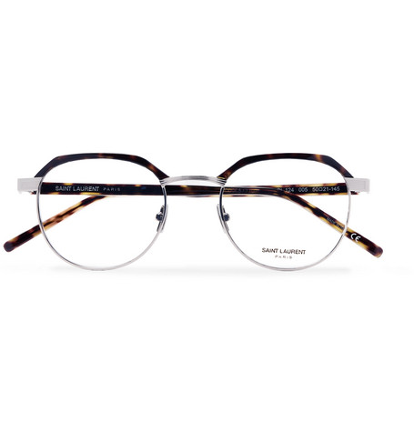 26ada7ebd2 Saint Laurent Round-Frame Tortoiseshell Acetate And Silver-Tone Optical  Glasses