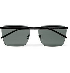 Saint Laurent Square-Frame Matte-Metal Sunglasses