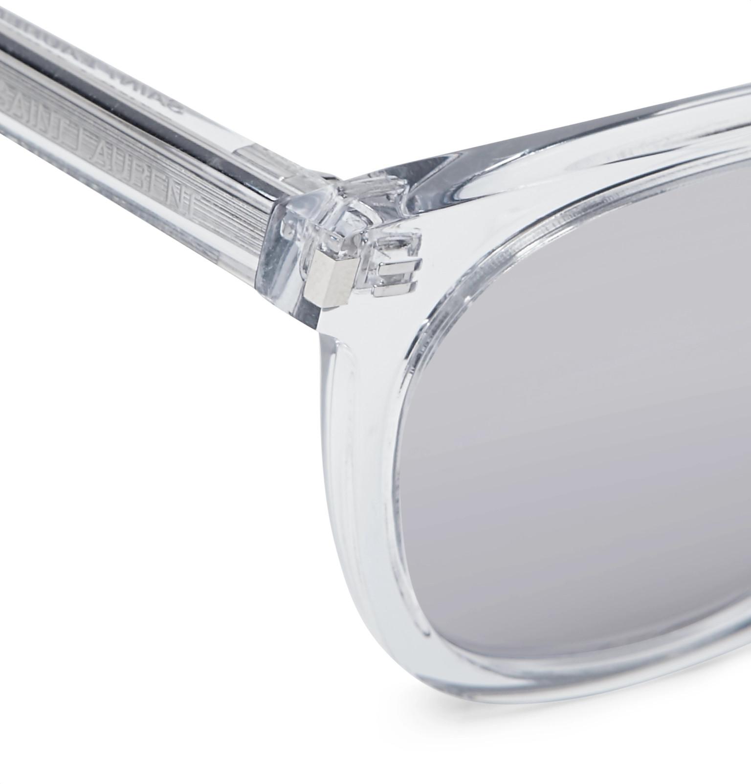 Laurent Mirrored Saint Square Frame Acetate Sunglasses dx44rw7