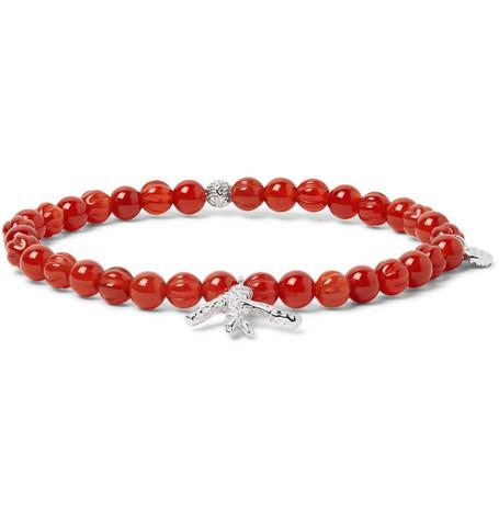 Silver Tone Charm Carnelian Beaded Bracelet by Isaia