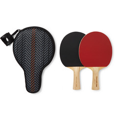 Ermenegildo Zegna - Pelle Tessuta Leather Table Tennis Set