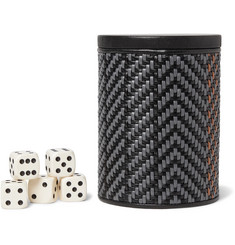 Ermenegildo Zegna Pelle Tessuta Leather Dice Set