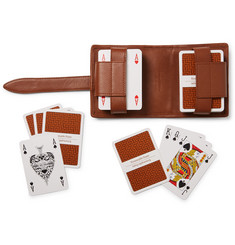 Ermenegildo Zegna Set of Two Packs of Playing Cards and Pelle Tessuta Leather Case