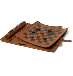 Ermenegildo Zegna PelleTessuta Leather Checkers Set