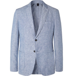 Hugo Boss Light-Blue Hanry Slim-Fit Unstructured Linen Suit Jacket