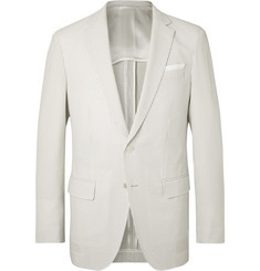 Hugo Boss Light-Grey Hartlay Striped Seersucker Blazer