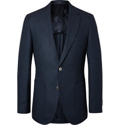 Hugo Boss Navy Janson Slim-Fit Puppytooth Virgin Wool and Linen-Blend Blazer