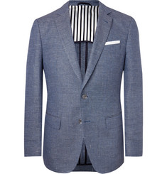 Hugo Boss Navy Hartlay Slim-Fit Unstructured Virgin Wool and Linen-Blend Blazer