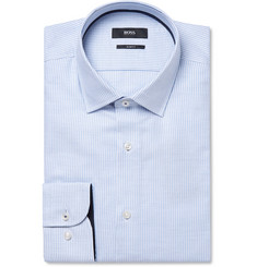 Hugo Boss Light-Blue Jesse Slim-Fit Puppytooth Cotton-Poplin Shirt