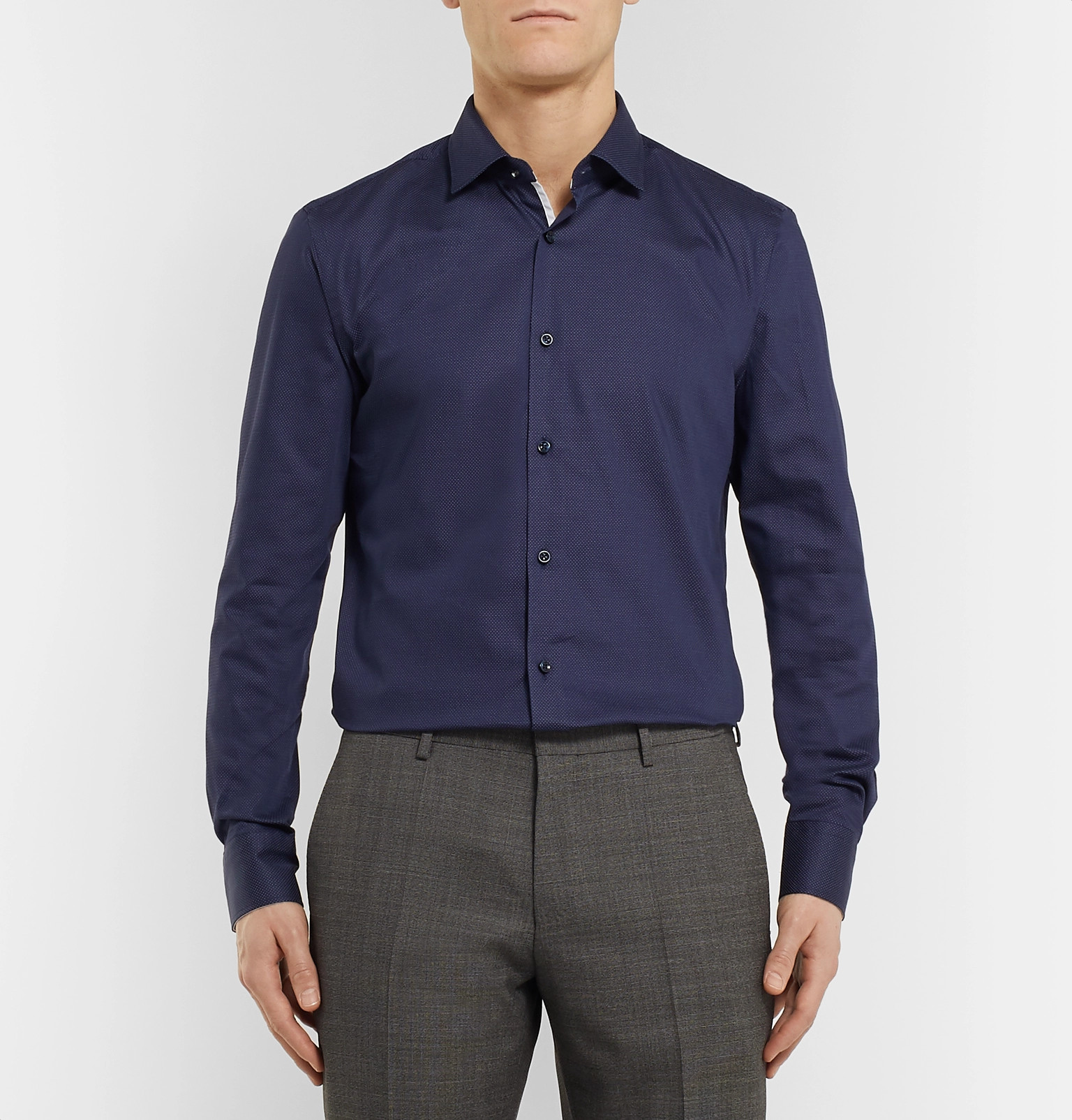 a18d8d804 Hugo BossNavy Jesse Slim-Fit Pin-Dot Stretch Cotton-Poplin Shirt. Was  £91.67Now £55 / Approx. SGD $94.9640% off. Tap to Close. 1