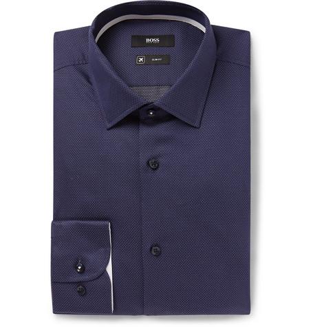 739a2e51b Hugo Boss - Navy Jesse Slim-Fit Pin-Dot Stretch Cotton-Poplin Shirt