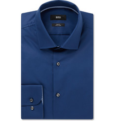 Hugo Boss Navy Slim-Fit Jesse Cotton-Poplin Shirt