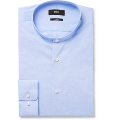 Hugo Boss Sky-Blue Slim-Fit Grandad-Collar Mélange Cotton and Linen-Blend Shirt