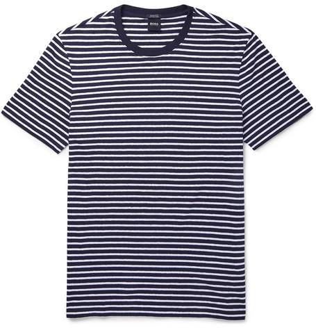 29cc48bd Hugo Boss - Tiburt Striped Linen and Cotton-Blend T-Shirt