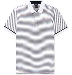 Hugo Boss Parlay Striped Cotton-Piqué Polo Shirt