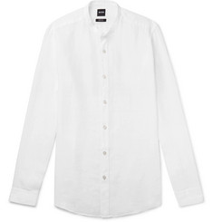 Hugo Boss Lamberto Slim-Fit Grandad-Collar Linen Shirt