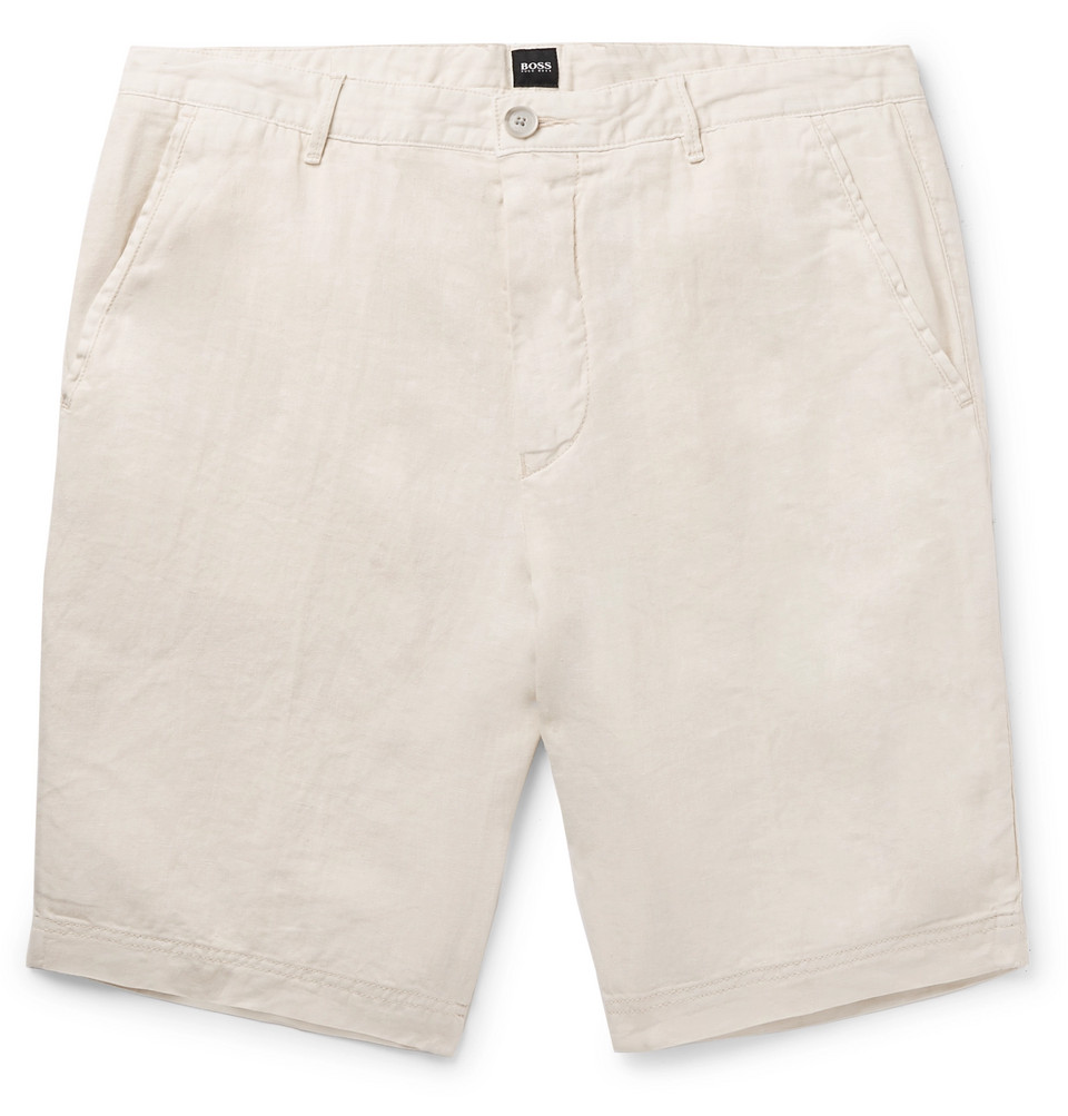 Hugo Boss Slice Slim-Fit Linen Shorts