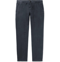 Hugo Boss Navy Crigan Slim-Fit Linen Trousers