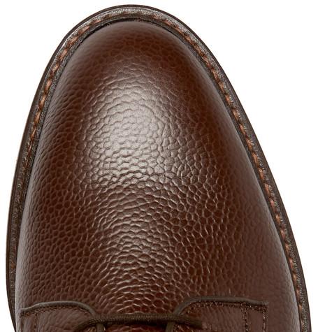 Fenwick Pebble-grain Leather Derby Shoes - Brown