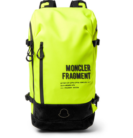 Moncler Genius Accessories 7 MONCLER FRAGMENT SUEDE-TRIMMED FLUORESCENT SHELL BACKPACK - BRIGHT YELLOW - ONE SIZ