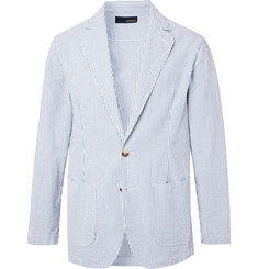 Lardini Blue Unstructured Striped Cotton-Seersucker Blazer