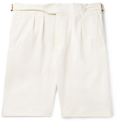 Lardini Pleated Cotton-Blend Twill Bermuda Shorts