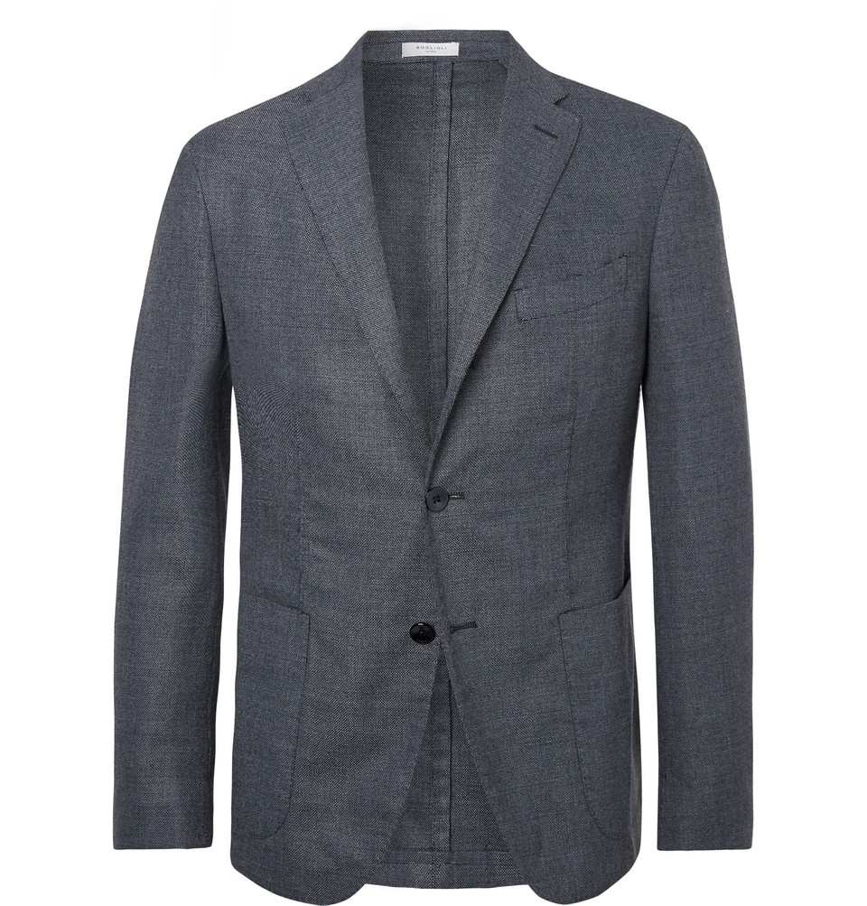 Blue Unstructured Virgin Wool-blend Hopsack Blazer - Blue