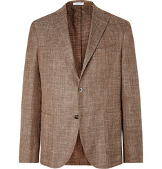 Boglioli Brown Unstructured Virgin Wool, Silk and Linen-Blend Blazer