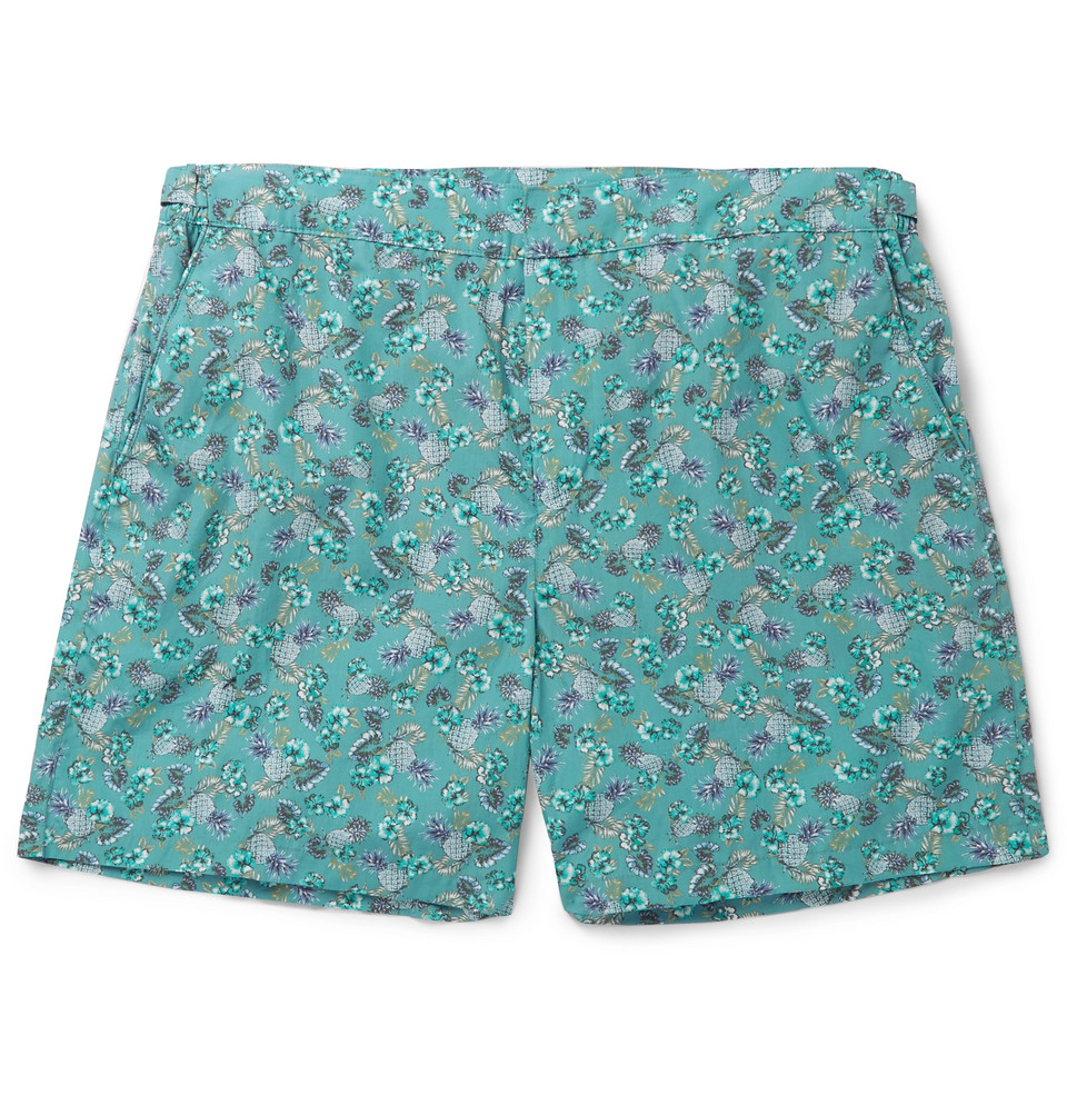 Mid-length Printed Cotton Swim Shorts - Blue