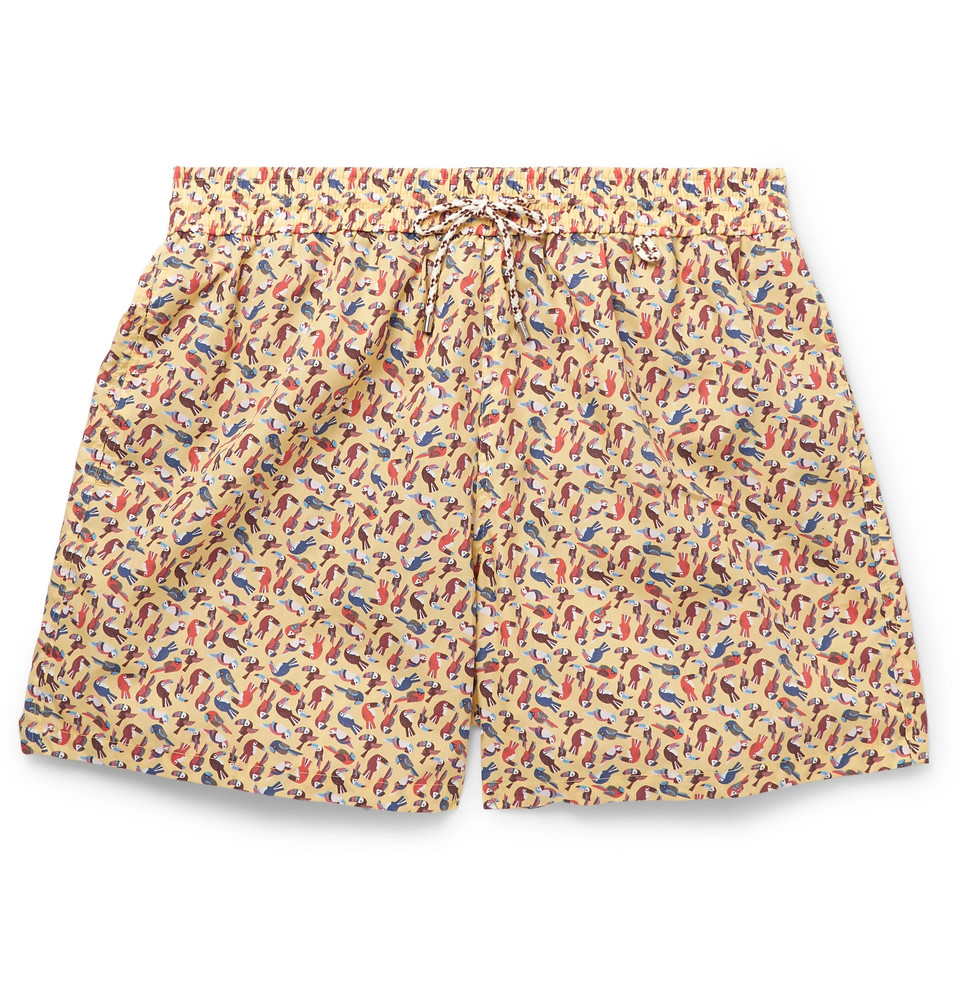 Mid-length Printed Cotton Swim Shorts - Yellow