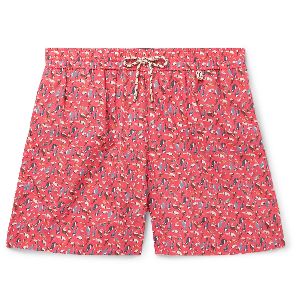 Mid-length Printed Cotton Swim Shorts - Red