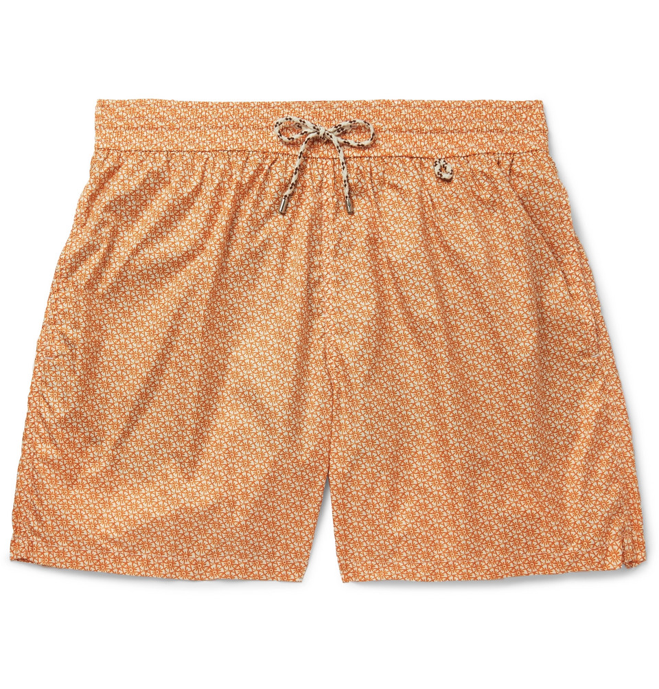 Mid-length Printed Swim Shorts - Orange