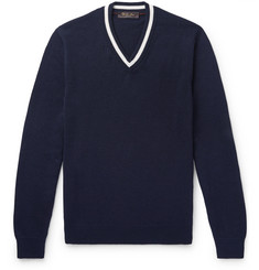 Loro Piana Slim-Fit Contrast-Tipped Cotton and Silk-Blend Sweater