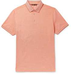 Loro Piana Mélange Cotton-Piqué Polo Shirt