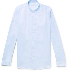 Loro Piana Alvin Slim-Fit Grandad-Collar Slub Linen Shirt