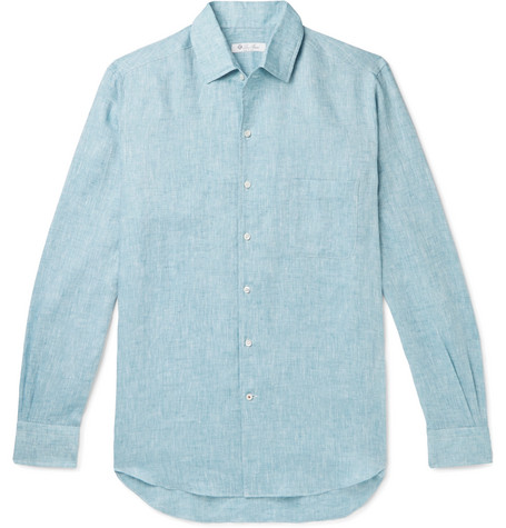 b9ebc38e9 Loro Piana Men's Andrew Long-Sleeve Linen Shirt In Blue | ModeSens