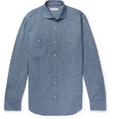 Loro Piana John Slub Linen and Cotton-Blend Chambray Shirt
