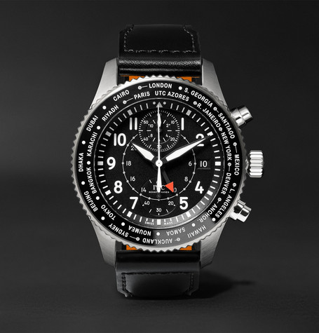 IWC SCHAFFHAUSEN Pilot's Timezoner Chronograph 45mm Stainless Steel and Leather Watch, Ref. No. IW395001