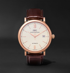 IWC SCHAFFHAUSEN Portofino Automatic 40mm 18-Karat Red Gold and Alligator Watch