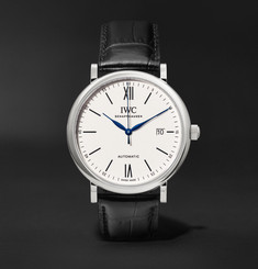 IWC SCHAFFHAUSEN - Portofino 150 Years Limited Edition 40mm Stainless Steel and Alligator Watch