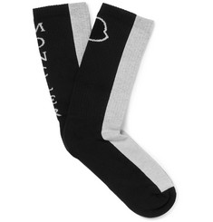 Moncler Colour-Block Ribbed Stretch Cotton-Blend Socks