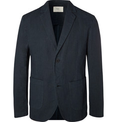 Folk - Navy Slim-Fit Unstructured Linen and Cotton-Blend Suit Jacket