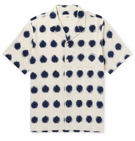 Camp Collar Polka Dot Cotton Oxford Shirt by Folk