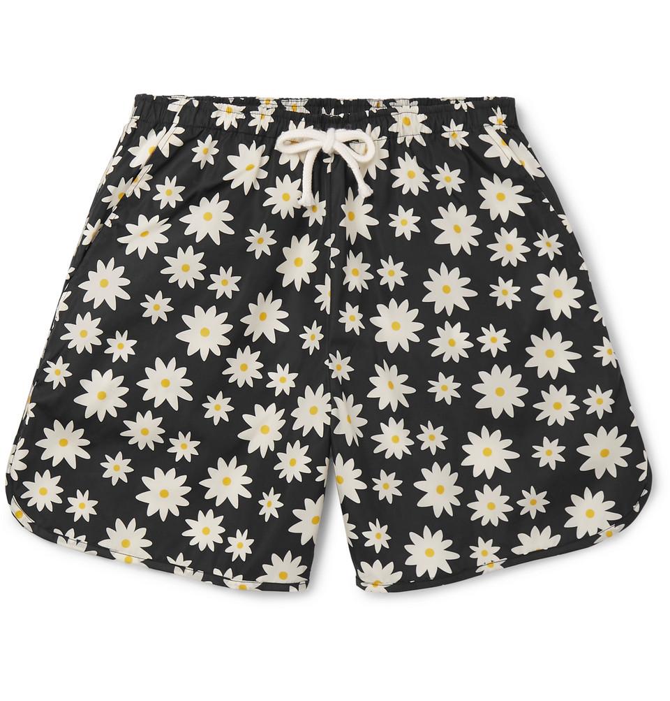Printed Mid-length Swim Shorts - Black