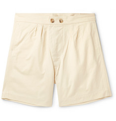 Holiday Boileau Pleated Cotton-Twill Shorts