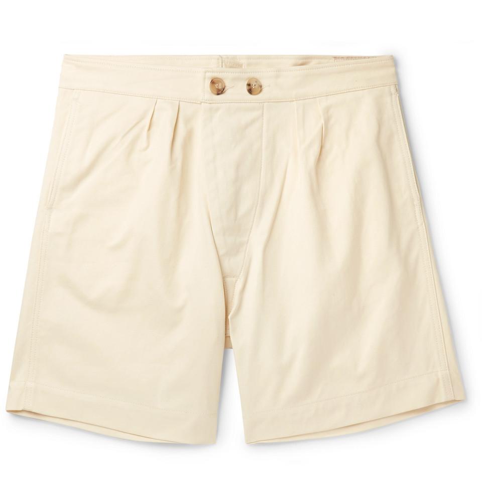 Pleated Cotton-twill Shorts - Cream