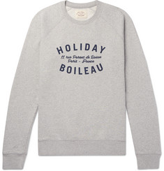 Holiday Boileau Slim-Fit Logo-Print Mélange Fleece-Back Cotton-Jersey Sweatshirt