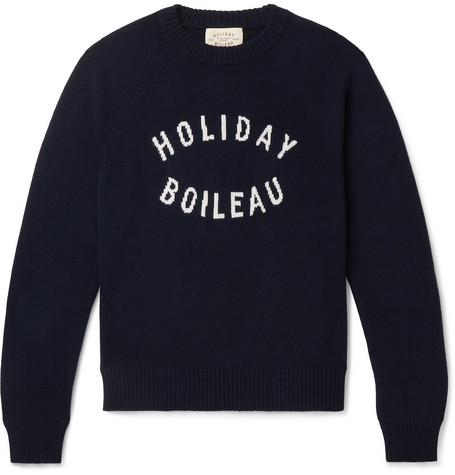 Slim Fit Logo Intarsia Merino Wool Sweater by Holiday Boileau